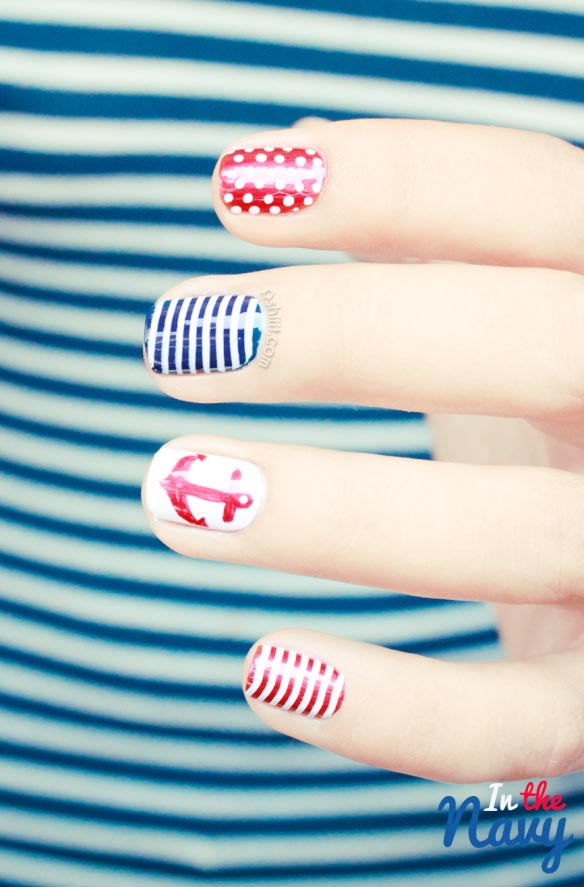 navy stripes red dots nails