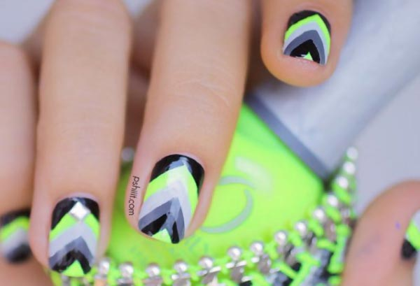 neon black chevron gradient summer nails