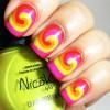 neon colored swirl nails
