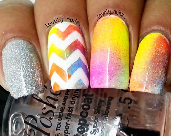 neon colorful gradient chevron glitter nails