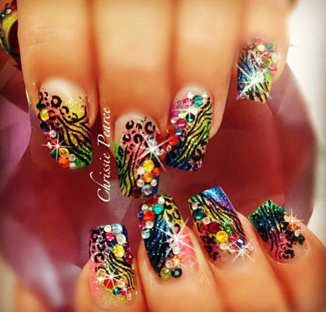 neon colors rhinestones fancy french nails