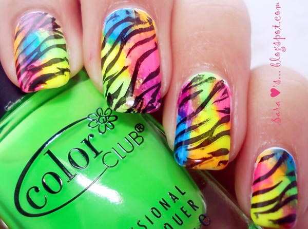 neon colors zebra summer nails