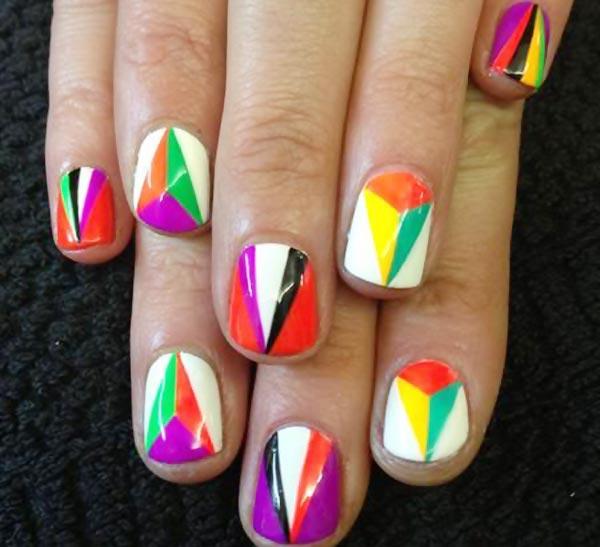 neon geometry nails