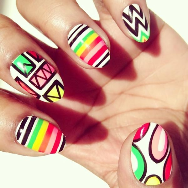 neon geometry on white statement nails