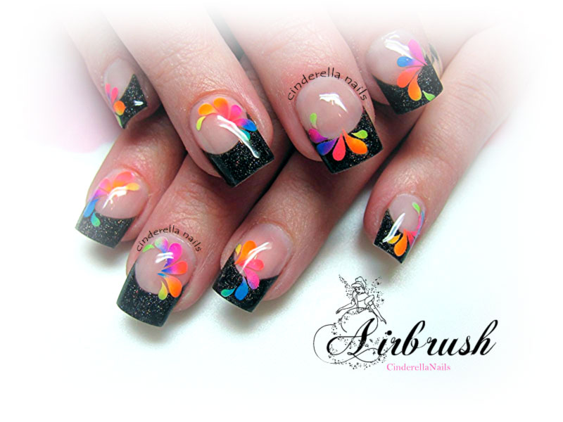 neon gradient flowers black glitter french nails
