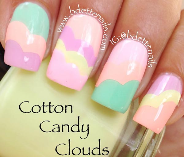 neon pastel clouds summer nails