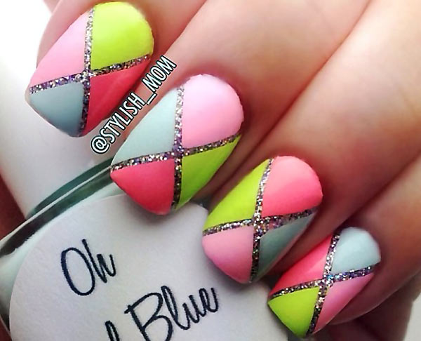 neon pastel geometry over glitter nails