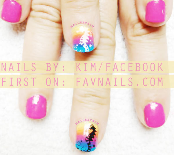 neon pink rainbow gradient stamped summer nails