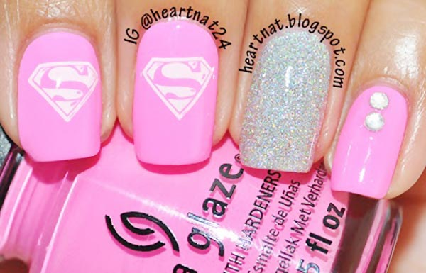 neon pink silver glitter superman nails - Favnails