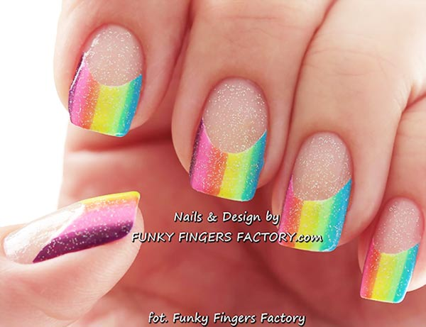 neon rainbow french shimmer nails