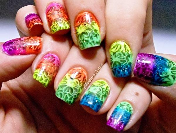 neon rainbow gradient stamped nails