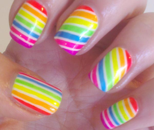 neon rainbow striped summer nails