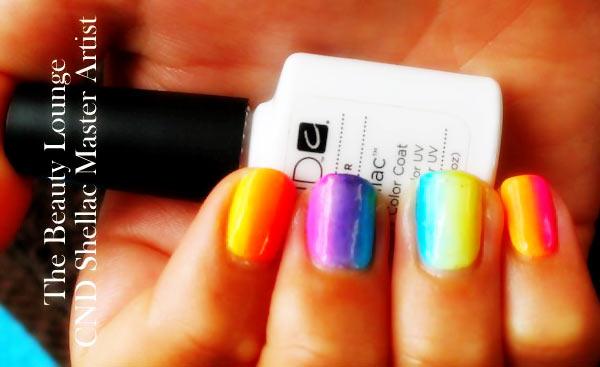 neon rainbow vertical gradient nails