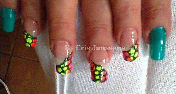 neon stones french nails