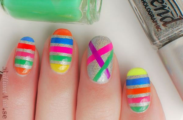 neon stripes over silver holo nails