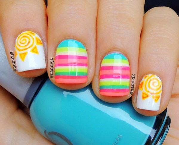 neon stripes sun joyful summer nails