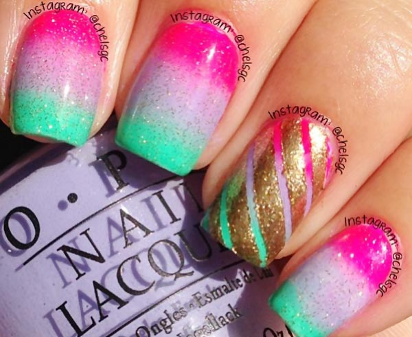 neon summer gradient gold accent nails