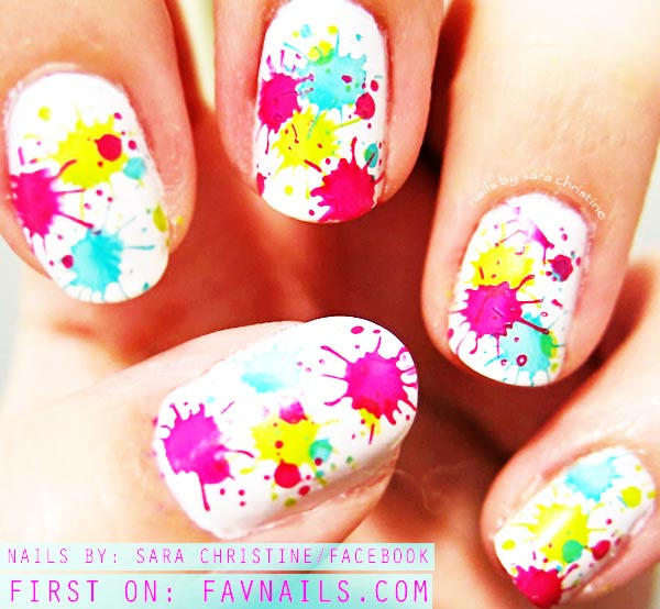 neon summer splatter nails