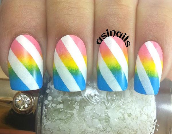 neon three colors gradient striped nails