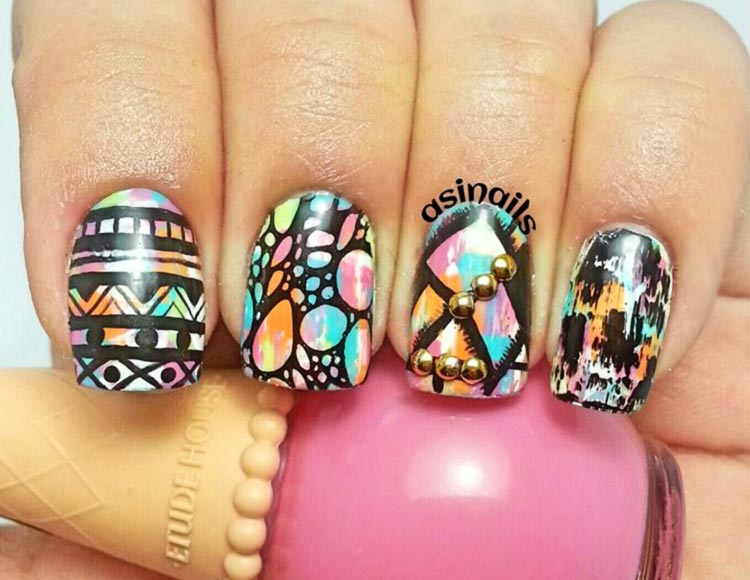 neon tie dye black stamped nails