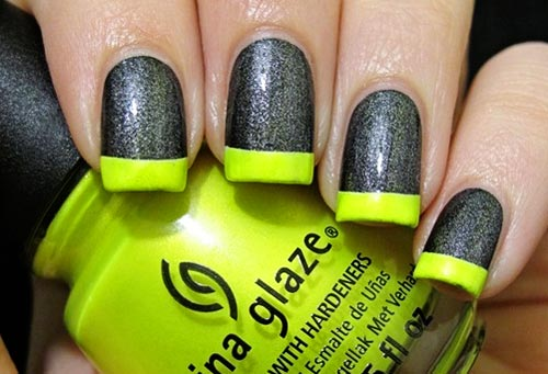 neon tips silver nails
