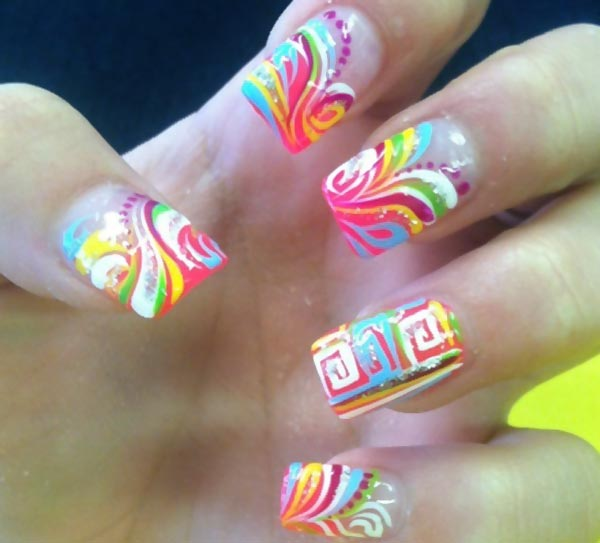 neon tribals accent summer french nails - Favnails