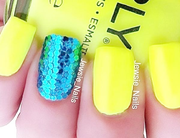 neon yellow blue sequins summer nails