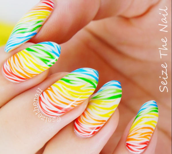 neon zebra rainbow summer nails