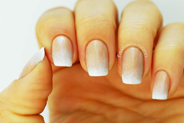 neutral base white gradient french nails