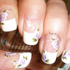 one stroke flowers butterflies french nails