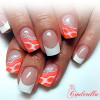 orange accent classic french nails