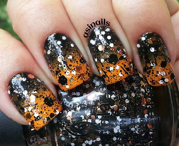 orange black confetti glitter gradient nails