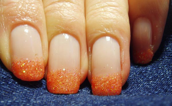 orange glitter french nails