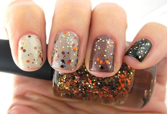 orange glitter gradient nails