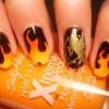 orange gradient black flames hunger games nails