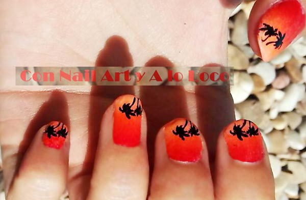 orange gradient palm trees stamped summer nails