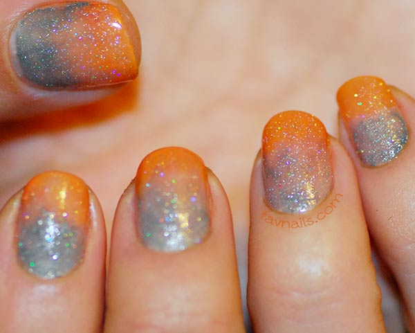 orange grey gradient textured shimmer fall nails