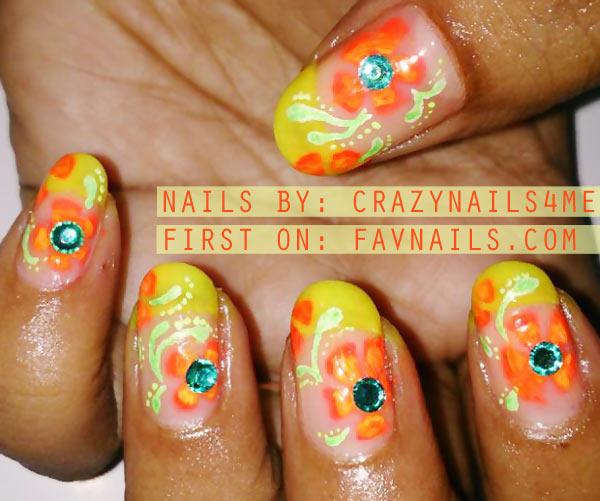 orange neon flowers rhinestones french nails