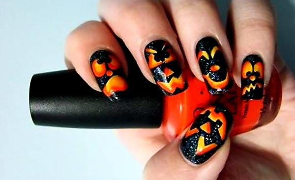 orange yellow faces black halloween nails - Favnails