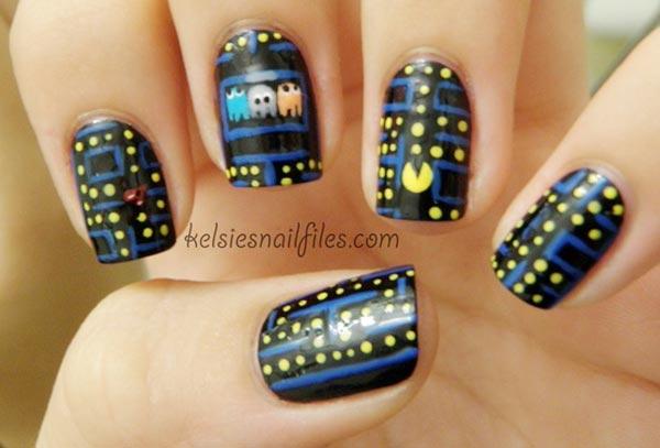 pacman black nails