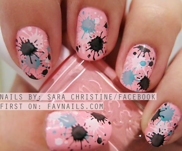 paint splatter on pink nails
