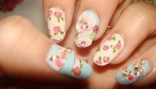 pastel 3D flowers easter spring nails