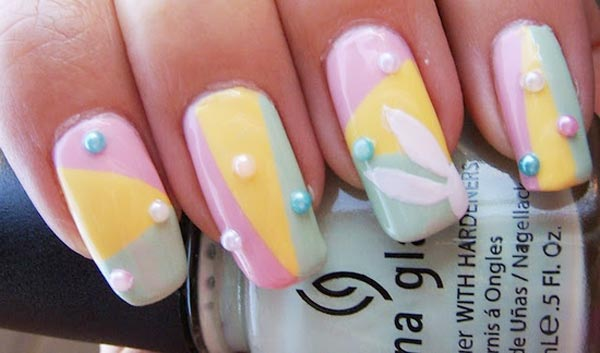 pastel beaded easter nails