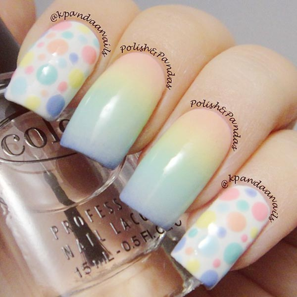 pastel dots gradient easter nails