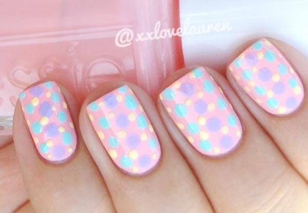 pastel dots on pink nails