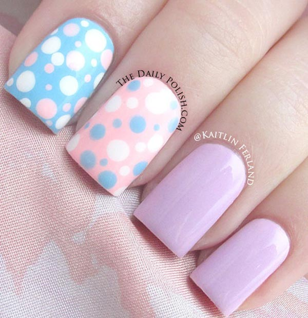 pastel dotted spring easter nails