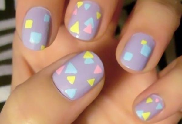 pastel geometry lilac retro nails