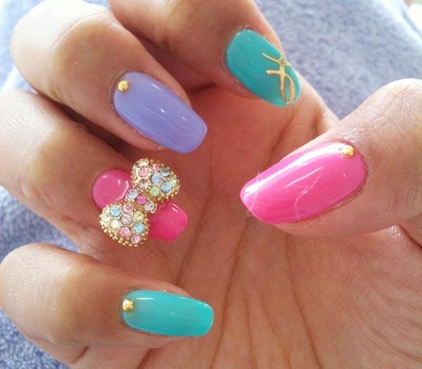 pastel girly precious nails