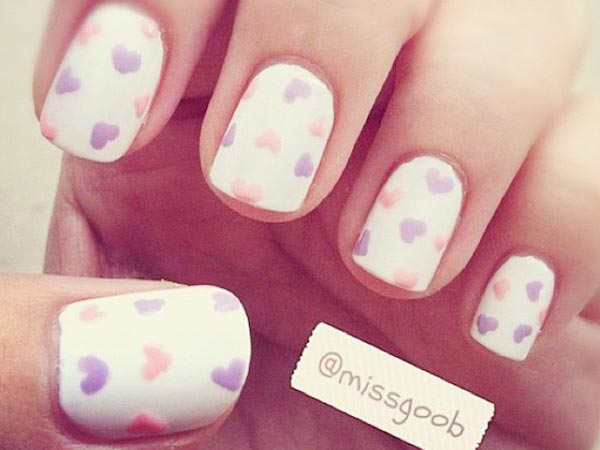 pastel hearts on white nails