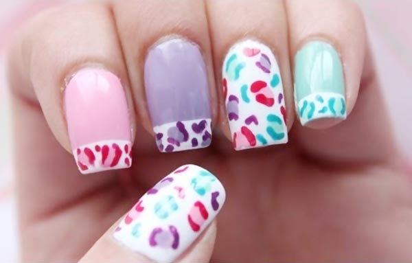 pastel leopard french nails